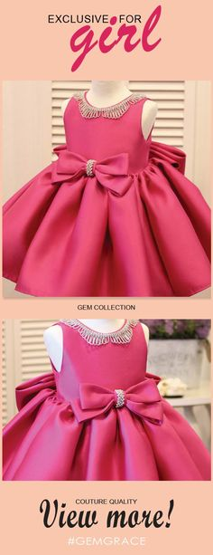 Shop Fuchsia Satin Formal Flower Girl Dress With Bling Big Bows online. Super cute styles with couture high quality. Baby Dress Design, Baby Girl Dress Patterns, Cheap Flower Girl Dresses, Little Girl Dresses, African Dresses For Kids, Girls Dresses Online, Types Of Dresses, Big Bows, Party Frocks