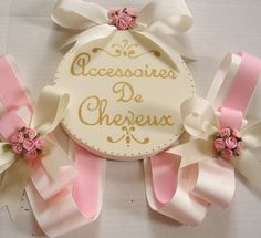 Boutique Round GIrls French inspired HAIR BOW HOLDER by candicenkatiesart on Etsy, $45.00