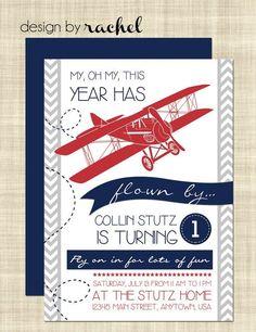 Cool Printable Red Airplane Birthday Invitation Card Templates  - Navy Blue, Chevron Pattern