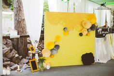 wedding paper flowers backdrop