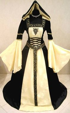 MEDIEVAL WEDDING DRESS GOTHIC S-M 10-12-14 VICTORIAN RENAISSANCE LARP WICCA ROBE   via Facebook