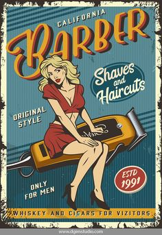 Illustration of Vintage barbershop poster with pin up attractive blonde woman sitting on barber electric hair clipper vector illustration vector art, clipart and stock vectors. Barber Poster, Barber Logo, Pin Up Posters, School Posters, Veterans Day Celebration, Poster Retro, Barber Shop Decor, Pinup, Blonde Women