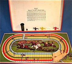 STEEPLECHASE HORSE RACING BOARD GAME C1940s By Spears