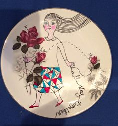 Plate no. 6 up cycled china collage by Adrienne Geoghegan Sharpies, Upcycle, Mixed Media, Collage, China, Plates, Ceramics, Tableware, Licence Plates