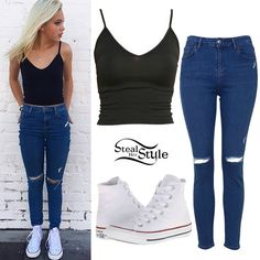 Jordyn Jones posted a new instagram photo on Wednesday wearing a black Brandy Melville Joanne Tank Top ($14.00), Topshop Moto Jamie High Rise Ripped Blue Jeans ($70.00), and her favorite white Converse Chuck Taylor All Star Core Hi Sneakers ($55.00).