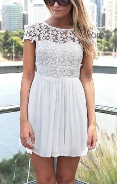 White Back Hollow-out Lace Splicing Chiffon Dress #fashion #beautiful #pretty Please follow / repin my pinterest. Also visit my blog  http://www.fashionblogdirect.blogspot.com/