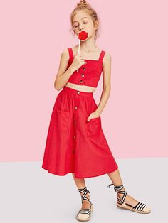 Shop Girls Button Up Crop Top & Pocket Front Skirt Set online. SHEIN offers Girls Button Up Crop Top & Pocket Front Skirt Set & more to fit your fashionable needs. Fall Outfits, Kids Outfits, Cute Outfits, Fashion Outfits, Camouflage Hoodie, Two Piece Outfit, Skirts With Pockets, Skirt Set, Kids Fashion