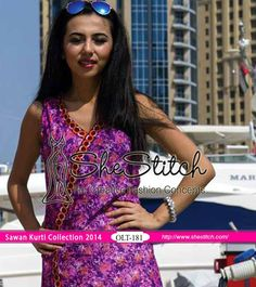 OLT-181 of Sawan Embroidered Kurti Collection 2014 by Orient Textile is perfect for trendy wearing. This kurti consists of an embroidered front and printed back along with printed sleeves.