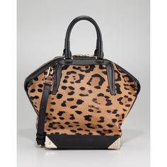 Alexander Wang Emile Leopard-Print Calf Hair Satchel found on Polyvore Leopard  Print Bag 4cccc260f88ee