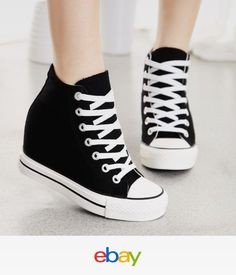Hot Womens Canvas Hidden Wedge Platform High-Top Lace Up Sneakers Trainers  Shoes c163fdcc13