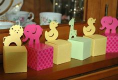 Cajas con figuras de animales para decorar baby shower | Manualidades para Baby Shower