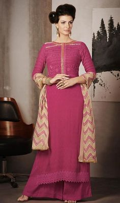 Be the epitome of understated elegance wearing this pink georgette embroidered palazzo suit. That you can see some interesting patterns completed with lace and resham work. #FushiaPinkFlaredPalazzoDesign