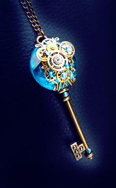 Keys 'Mechanical Water Nymph' Blue Steampunk key necklace Keeping it Cheap: Summer Camps Savings Str Key Jewelry, Cute Jewelry, Jewelery, Jewelry Accessories, Jewelry Design, Jewelry Making, Bullet Jewelry, Jewelry Necklaces, Style Steampunk