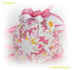 Easter Spring Ornament Decoration quilted pink by OrnamentBoutique on etsy.
