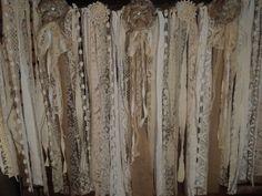 Fabric Burlap Vintage Lace Banner Wedding Garland Shabby Chic Boho Rag tie Prop