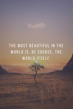 The most beautiful in the world is, of course, the world itself. Outdoor Adventure Quotes, Travel Captions, Hiking Quotes, Wanderlust Quotes, Best Travel Quotes, World Quotes, Inspirational Quotes, Nice Quotes, Motivational