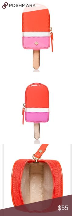 Flavor of the Month Ice Pop Coin Purse- kate spade Flavor of the Month Ice Pop Coin Purse by kate spade. Step into summer in style with this adorable novelty accessory! This little bag packs a big punch with its pink and orange high shine finish. Multi-purpose bag, can be used as coin purse, card holder, or mini wallet. Perfect for ladies (and gents!) who's style is both kitsch and country club 🎶Sun kissed skin, so hot we'll melt your popsicle!🎶 ** inside fabric is fuchsia, not tan. Which…