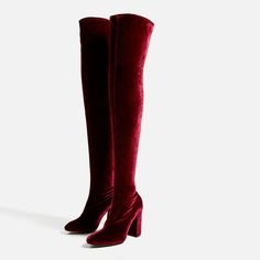 Zara Shoes - Zara over the knee velvet stretch boots Thigh High Boots, High Heel Boots, Over The Knee Boots, Heeled Boots, Shoe Boots, High Heels, Zara Boots, Velvet Shoes, How To Stretch Boots