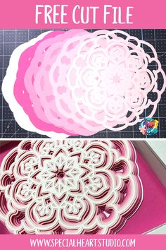 Use this free design to make a layered mandala with cardstock in your electronic cutting machine or wood with a laser cutter. Cricut Svg Files Free, Free Svg Cut Files, Zen Doodle Patterns, Doodle Borders, 3d Cuts, Mandala Stencils, Flower Svg, Cricut Creations, Free Design