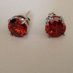 Earring Beautiful red color stud earring with 18k white gold plated earring jewelry.(NEW) No Trades. No Holds. No PayPal. Jewelry Earrings