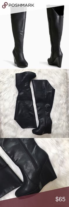 """Torrid Over the Knee Faux Leather Wedge Boot Faux leather wedge boots with approximately 4.5"""" heel and .5"""" platform. Calf extender material on the back and side zip up. Torrid website recommends going down a whole size for perfect fit. NWT with normal in-store wear on the bottom. The spots are where sharpie marks were removed. 9.5 W fitting about 20.5"""" calf. There is a small mark on the back of the right heel (pictured), but not noticeable when wearing. torrid Shoes Over the Knee Boots"""