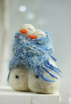 Needle Felt Snowman Christmas Decoration by FeltArtByMariana