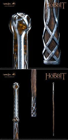 """glirabrownlock: """" Thranduil's staff, ring, brooch and crown """" Thranduil Cosplay, Hobbit Cosplay, Walking Sticks And Canes, Walking Canes, Tolkien, Wizard Staff, Walking Staff, Baguette, Swords And Daggers"""