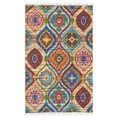 Anchor your living room seating group or define space in the den with this eye-catching cotton rug, featuring a vibrant ogee motif for exotic appeal.