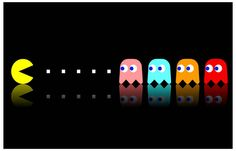 Pac-Man and Ghosts Pinky Blinky Inky Clyde Video Game Poster 11x17