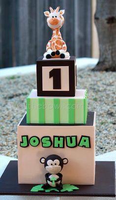 Kids cake animals first birthday