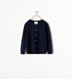 Image 1 of Basic cardigan from Zara Girls Sweaters, Cardigans, Zara Kids, Zara United States, School Uniform, Pulls, Sweater Cardigan, Latest Trends, Collection