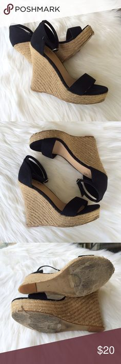 COLIN STUART straw wedges Sexy ankle tie wedges 💕 gently pre-owned but in great condition 💕 Colin Stuart Shoes Wedges