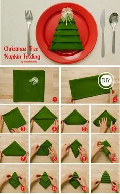 How To Fold Christmas Tree Napkins -