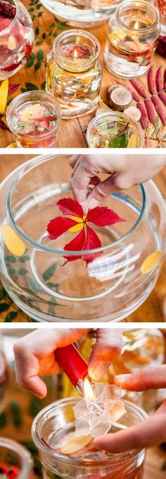 DIY Foliage floating candles - cute for a fall wedding
