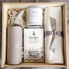 "Teak & Twine on Instagram: ""My love affair with gray continues! A clean and neutral client gift for the exceptionally lovely and crazy talented photographer @laurenkinsey to gift to her lucky brides! Featuring some of our favorites @cloisterhoney @silverneedleteaco @dicktaylorchocolate @thelittlemarket"""