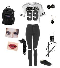 """""""Untitled #46"""" by ourbabbygirl on Polyvore featuring Topshop, Vans, JanSport, Essie and Fiebiger"""