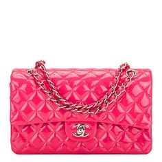 #Chanel Fuchsia Pink Quilted Patent Medium Classic Double Flap #Bag