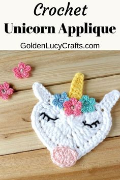 This beautiful crochet Unicorn Applique would be perfect for anyone who loves this mystical creature! The face of this crochet Unicorn is made in the shape of a heart and this applique is another addition to my series of Heart Shaped Creations. Crochet Unicorn Pattern Free, Crochet Applique Patterns Free, Crochet Motifs, Crochet Appliques, Crochet Embellishments, Amigurumi Patterns, Knit Patterns, Crochet Stitches, Crochet Bebe