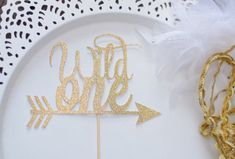 Wild One Boho Cake Topper for first birthday, feathers and arrows ~ by Rustic Daisy Designs