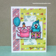 Simon Says Stamp Party Animal stamp set copic colored.  Patterned paper.