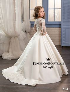 Wedding Dresses for Little Girls 2017 Pentelei Cheap with Long Sleeves and Pockets Appliques Satin ivory flower girl dresses Toddler Flower Girl Dresses, Ivory Flower Girl Dresses, Lace Flower Girls, Wedding Dresses For Girls, Little Girl Dresses, Toddler Dress, Girls Dresses, Dresses For Kids, Girls Communion Dresses