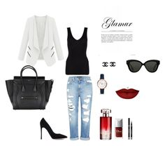 """""""BLACK & WHITE"""" by shushu13 ❤ liked on Polyvore featuring Genetic Denim, Linda Farrow, Gianvito Rossi, Hanro, FOSSIL, Anastasia Beverly Hills and Lancôme"""
