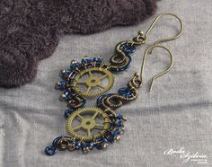 MAD SCIENTIST EARRINGS  wire wrapped steampunk by bodaszilvia, $36.50
