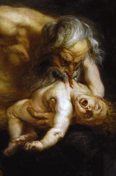 Peter Paul Rubens (1577-1640) Cronus devours one of his offspring (Detail) Oil on canvas, 1636 #morbid #art #artist #painter #painting #mythology