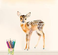 Baby Deer Fawn SMALL size Wall Decal ( removable self-adhesive fabric wall sticker )