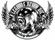 cool Harley Davidson Helm Skull Tattoo Design
