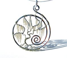 Tree of Life - Silver Weeping Willow Pendant with Silver Chain Leaves and Silver Wire Branches. A new take on a tree of life; cool.