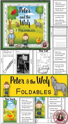 PETER and the WOLF FOLDABLES   This file contains 26 pages - EIGHT different FOLDABLES in BOTH COLOR AND B/W!  ♫ CLICK through to read more or save for later! n ♫