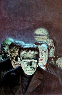Discovered by izzzaaa Find images and videos about horror, Dracula and Frankenstein on We Heart It - the app to get lost in what you love. Retro Horror, Horror Icons, Horror Movie Posters, Vintage Horror, Classic Monster Movies, Classic Horror Movies, Classic Monsters, Arte Horror, Horror Art