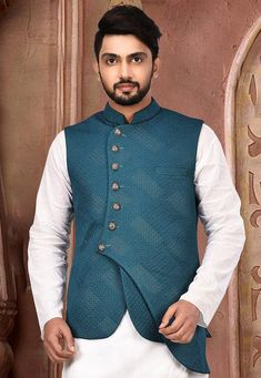Quilted Scuba Asymmetric Nehru Jacket in Teal Blue Sherwani For Men Wedding, Wedding Dress Men, Mens Steampunk Vest, Traditional Indian Mens Clothing, Engagement Dress For Groom, Suit Fashion, Mens Fashion, Master Tailor, Waistcoat Men
